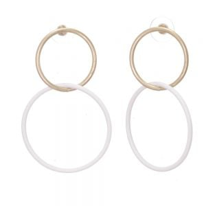 Contemporary Fashion Jewellery: Large Linked Circle Matt Gold and White Stud Earrings (5cm x 4cm) (EV1)C)