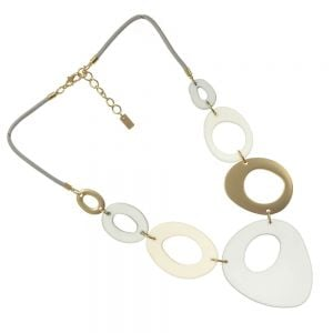 Bold Fashion Jewellery: Taupe Tone Statement Necklace with Rounded Abstract Shapes (EV27)