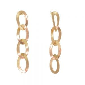 Gorgeous Fashion Jewellery: Long 7.5cm Oval Linked Earrings in Worn Gold Tone (M53)B)