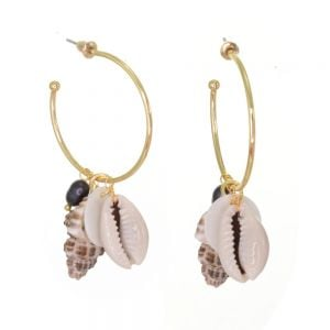 Gorgeous Fashion Jewellery: Gold 3/4 Hoops with Freshwater Pearls and Seashells (6cm x 3.2cm) (M302)B)