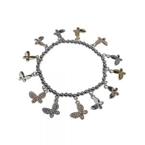 Gorgeous Fashion Jewellery: Stretch Bracelet with Gold, Silver and Black Hematite Tone butterfly charms (M