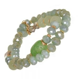 Gorgeous Fashion Jewellery: Gold and Green Double Strand Stretch Bracelet with Clear Crystals and Semi-Precious Beads (DX5)C)