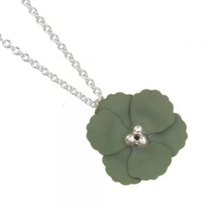 Cute Fashion Jewellery: Delicate Silver Chain Necklace with Matt Khaki Green Flower Pendant (I59)E)