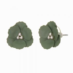 Cute Fashion Jewellery: 1.5cm Poppy Flower Stud Earrings with Matt Khaki Green Petals (I57)E)
