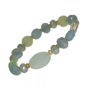 Gorgeous Fashion Jewellery: Gold and Green Stretch Bracelet with Clear Crystals and Semi-Precious Beads (DX4)C)