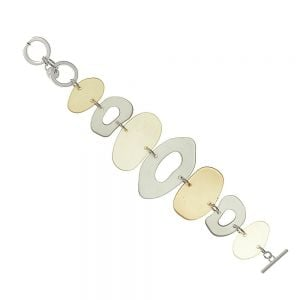 Bold Fashion Jewellery: 20cm Long Statement Taupe Hued Abstract Design Bracelet with Translucent Pieces (EV23)