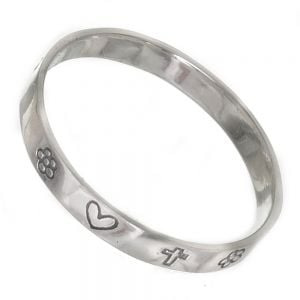 Simple Sterling Silver Jewellery: Flower, Heart and Cross Band Ring