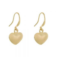 Simple Fashion Jewellery: Silver Tone Heart Earrings (2.5cm Drops) (DX12)A)