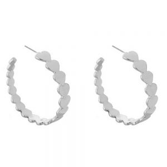 Striking Fashion Jewellery: Silver Tone 4cm Repeated Heart Motif Hoop Earrings (DX9)A)