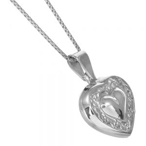 Lovely Sterling Silver Jewellery: Heart Locket with Floral Design (19mm) (N401)