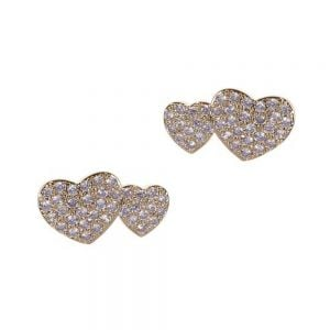 Sparkly Fashion Jewellery: White Gold-Plated Double Heart Stud Earrings (15mm x 8mm) (DX16)A)