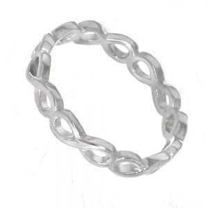 Sterling Silver Jewellery: Contemporary Band Ring (3mm) with Repeated Infinity Motif