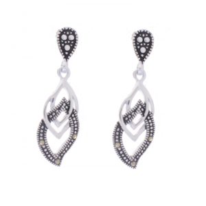 Sterling Silver and Marcasite Interlinking Earrings