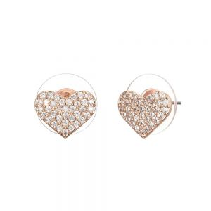 Beautiful Fashion Jewellery: Heart Shaped Rose Gold and Crystal Stud Earrings