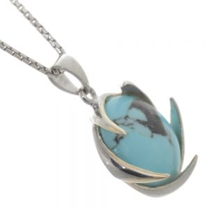 Beautiful Sterling Silver Jewellery: 16mm Round Turquoise Pendant with Unusual Curving Setting
