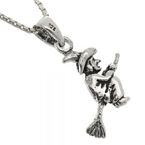 Magical Sterling Silver Jewellery: Quirky Oxidised Witch on Broomstick Pendant