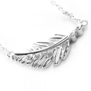 CZ and Silver Leaf Design Necklace