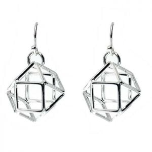 Silver Dangly Drops geometric cage