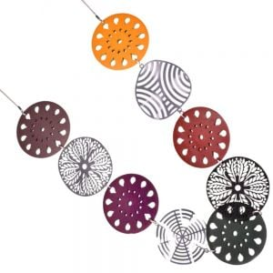 Beautiful Long 76cm Necklace with Large 6cm Laser-Cut Decorative Wooden and Metallic Discs in Purple, Dark Green, Red and Yellow (YK139)A)