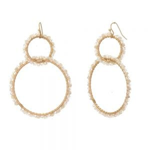 Boho Fashion Jewellery: Extra Large Gold Linked Hoop Earrings with White Beads (7.5cm x 5cm) (EV2)A)