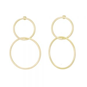 Contemporary Fashion Jewellery: Large Linked Circle Matt Gold Stud Earrings (5cm x 4cm) (EV1)B)