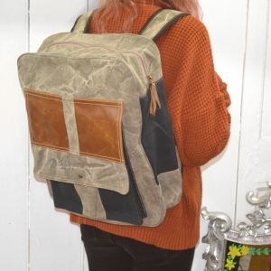 Handcrafted Upcycled Bags: Charcoal Tones Canvas and Leather Backpack (BG8)