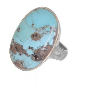 Sterling Silver Jewellery: Statement Ring with Large Turquoise Oval (Natural Stones Vary) (SR170)