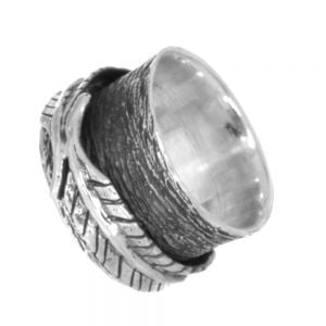 Sterling Silver Jewellery: Chunky Oxidised Textured Ring with Spinning Leaf (SR104)