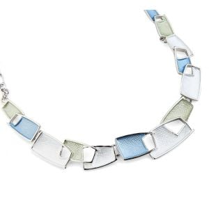 Pretty Fashion Jewellery: Short Necklace with Blue, Green and White Textured Oblongs