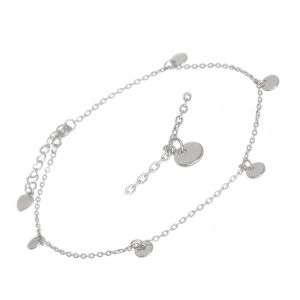Sterling Silver Jewellery: Dainty Anklet with Dangly Circles (21.25-25cm) (B15)