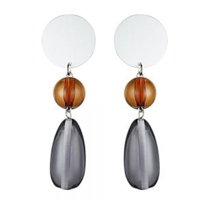 Unusual Fashion Jewellery: Statement Chunky Bead Earrings in Translucent Amber and Grey Tone