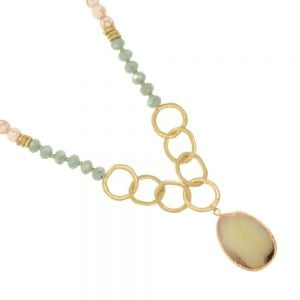 SEMI-PRECIOUS Fashion Jewellery: 86cm Long Beaded Gold Necklace with Craquelure Cream Beads, Blue Crystals and Large Sea Green Agate Teardrop Pendant (EV19)