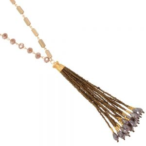 Boho Fashion Jewellery: 86cm Long Matt Gold Necklace with Taupe Tone Crystals and Dark Brown Seed Bead Tassels (EV7)B)