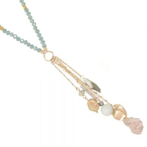 SEMI-PRECIOUS Fashion Jewellery: 81cm Gold and Mint Green Crystal Necklace with Quartz Tassel Pendant (EV12)