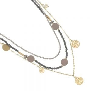 Boho Fashion Jewellery: 96cm Gold and Grey Beaded Multi-Strand Necklace with Dragonfly Embossed Coins (EV16)