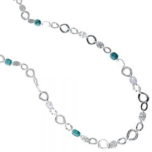 Long Silver and Turquoise Necklace