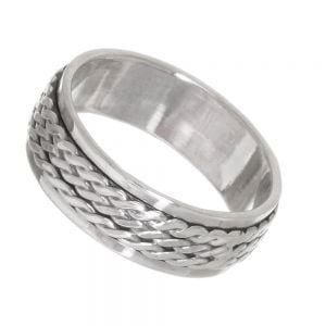 Sterling Silver Jewellery: Chunky 8mm Oxidised Ring with Infinity Twist Spinning Band