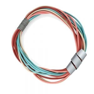 Magnetic Fashion Jewellery: Short Multi-Stranded Pastel Rainbow Neoprene Necklace with Curling Tube Pendant