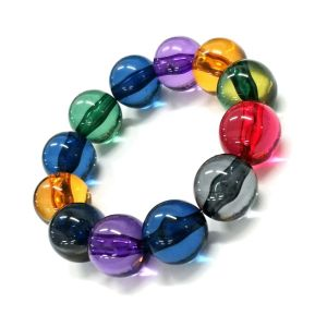 Colourful Fashion Jewellery: Chunky Beaded Bracelet in Translucent Purple, Blue, Green, Red and Yellow