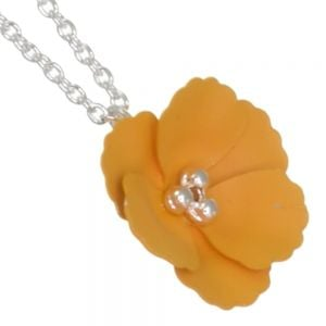 Cute Fashion Jewellery: Delicate Silver Chain Necklace with Matt Mustard Yellow Poppy Flower Pendant (I59)B)