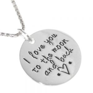 Sentimental Quote Sterling Silver Jewellery: 'I Love You To The Moon and Back' and Heart Inscription Pendant