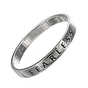 Sterling Silver Jewellery: Affirmations 'Fearless' Simple Band Ring