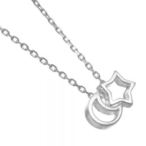 Celestial Sterling Silver Jewellery: Minimalist Star and Crescent Moon Necklace (N383)