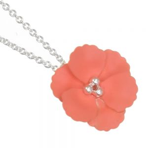 Cute Fashion Jewellery: Delicate Silver Chain Necklace with Matt Coral Poppy Flower Pendant (I59)D)