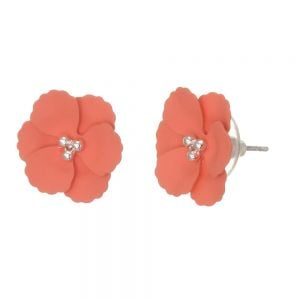 Cute Fashion Jewellery: 1.5cm Flower Stud Earrings with Matt Coral-Pink Petals (I57)D)