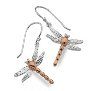 Beautiful Sterling Silver Jewellery: Silver and Rose Gold Dragonfly Earrings