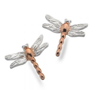 Beautiful Sterling Silver Jewellery: Silver and Rose Gold Dragonfly Studs (13mm x 14mm)