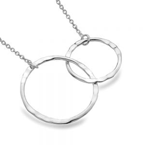 Contemporary Sterling Silver Jewellery: Simple Necklace with Hammered Linked Circle Design