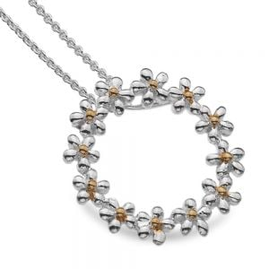 Gorgeous Sterling Silver Jewellery: Silver and Gold Daisy Chain Circle Pendant