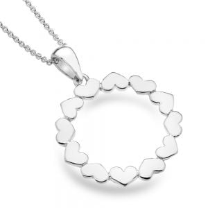 Beautiful Sterling Silver Jewellery:23mm Circle Pendant of Alternating Lovehearts